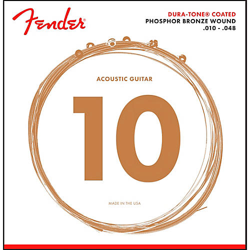 Fender 860XL Phosphor Bronze Dura-Tone Coated Extra Light Acoustic Guitar Strings 10-48