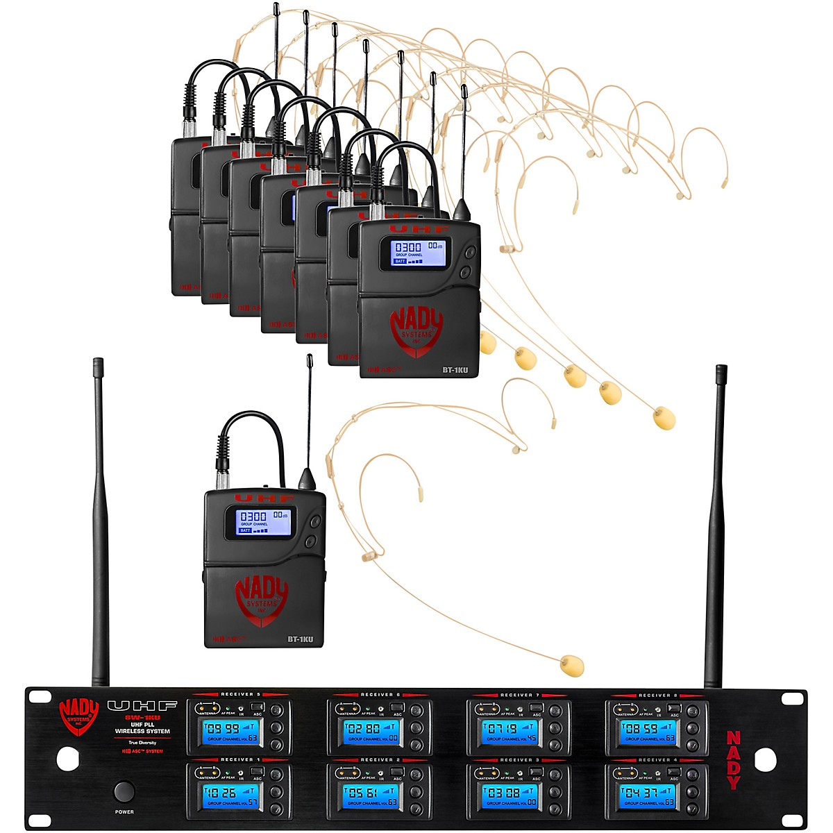 Nady 8W-1KU Eight 1000-Channel Headset Wireless System