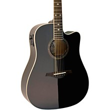 A+ AS355CE Solid Top Cutaway Dreadnought Acoustic-Electric Guitar With Gig Bag Level 2 Black 190839279286