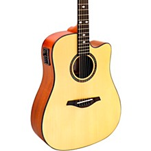 A+ AS355CE Solid Top Cutaway Dreadnought Acoustic-Electric Guitar With Gig Bag Level 2 Satin Natural 190839326904