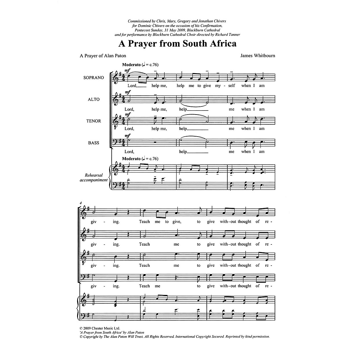Chester Music A Prayer from South Africa (A Prayer of Alan Paton) SATB Composed by James Whitbourn
