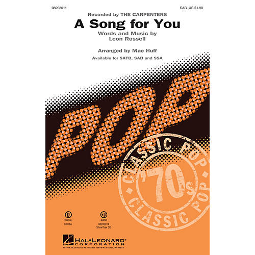Hal Leonard A Song for You SAB by The Carpenters arranged by Mac Huff