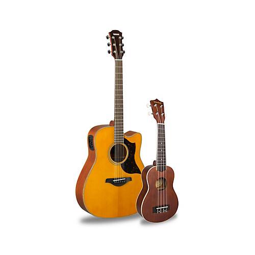 yamaha a1m acoustic electric guitar and ukulele package vintage natural guitar center. Black Bedroom Furniture Sets. Home Design Ideas