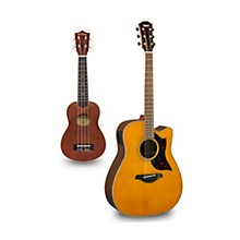 A1R Cutaway Dreadnought Acoustic-Electric Guitar and Ukulele Package Natural