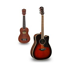 A1R Cutaway Dreadnought Acoustic-Electric Guitar and Ukulele Package Tobacco Sunburst