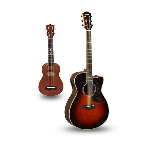 Yamaha AC1R Cutaway Concert Acoustic-Electric Guitar and Ukulele Package