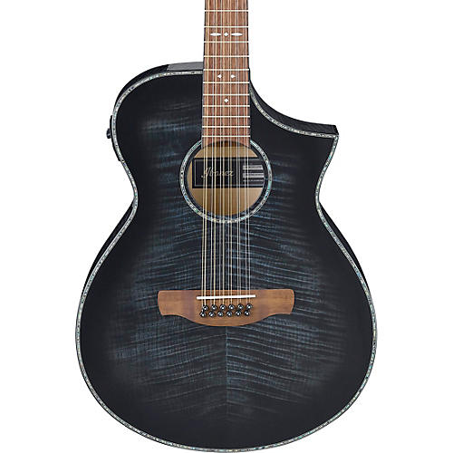 ibanez aewc4012fm 12 string acoustic electric guitar transparent black burst guitar center. Black Bedroom Furniture Sets. Home Design Ideas