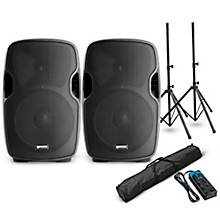 """Gemini AS-10P 10"""" Powered Speaker Pair with Stands and Power Strip"""