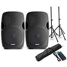"""Gemini AS-12BLU 12"""" Powered Bluetooth Speaker Pair with Stands and Power Strip"""