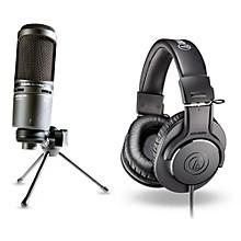 Audio-Technica AT2020 USB Mic with ATH-M20x Headphones