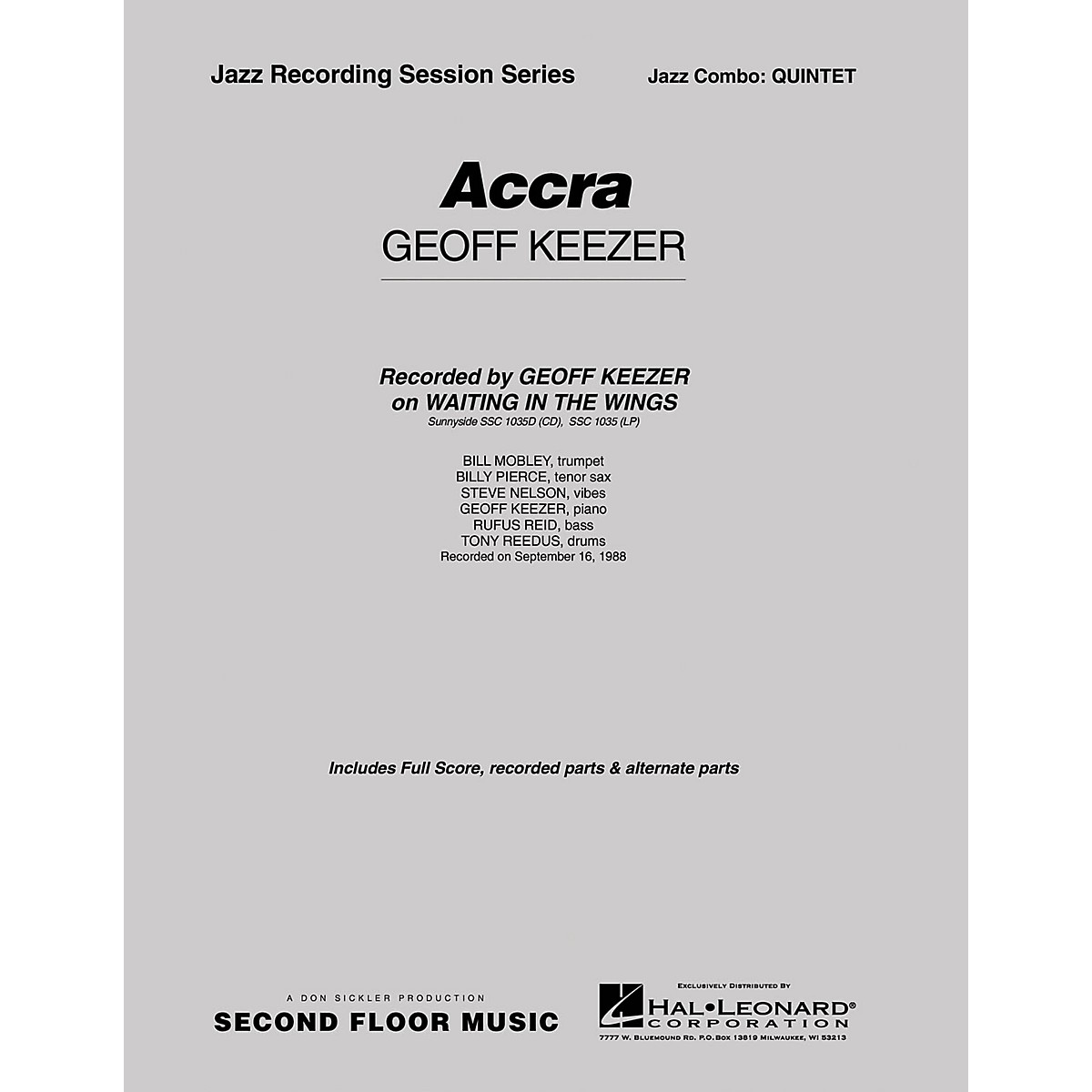 Second Floor Music Accra (Quintet/Sextet) Jazz Band Level 4-5 Composed by Geoff Keezer