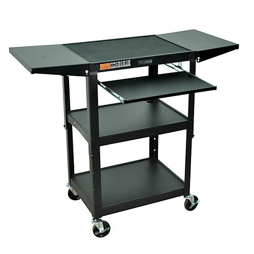 H. Wilson Adjustable Height Cart with Keyboard Tray and Drop Leaf Shelves