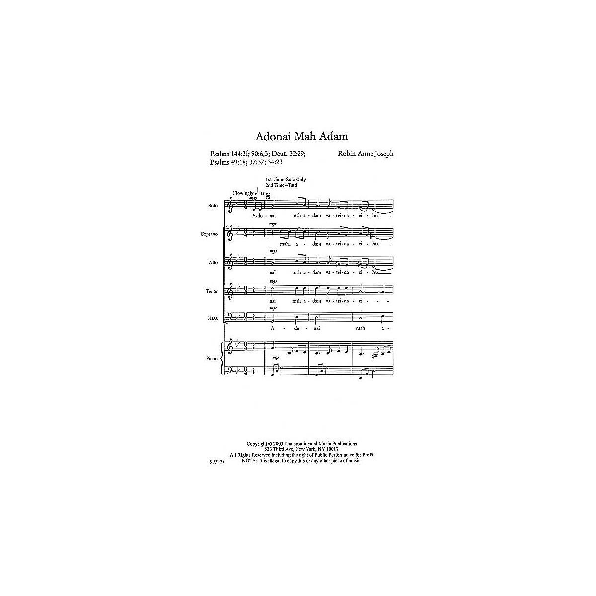 Transcontinental Music Adonai Mah Adam (O God, What Are We?) SATB composed by Robin Joseph