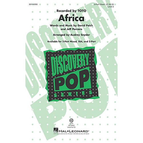 Hal Leonard Africa (Discovery Level 2 2-Part) 2-Part by Toto Arranged by Audrey Snyder