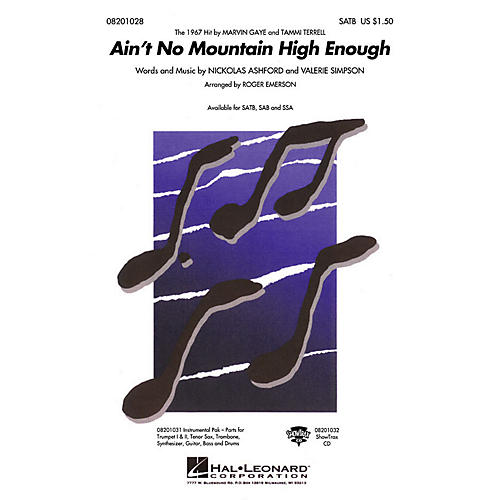 Hal Leonard Ain't No Mountain High Enough SAB by Marvin Gaye Arranged by Roger Emerson