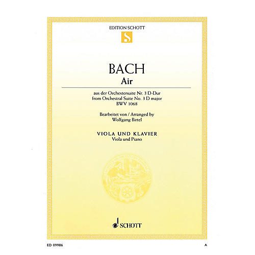 Schott Air in D Major from Orchestral Suite No. 3, BWV 1068 String Series Softcover