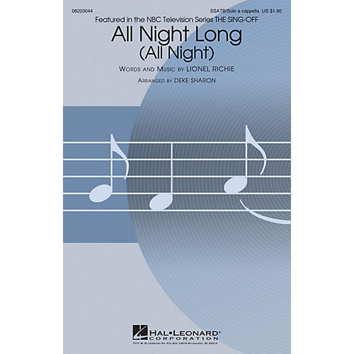 Hal Leonard All Night Long (All Night) (from NBC's The Sing-Off) SSATB and Solo A Cappella arranged by Deke Sharon