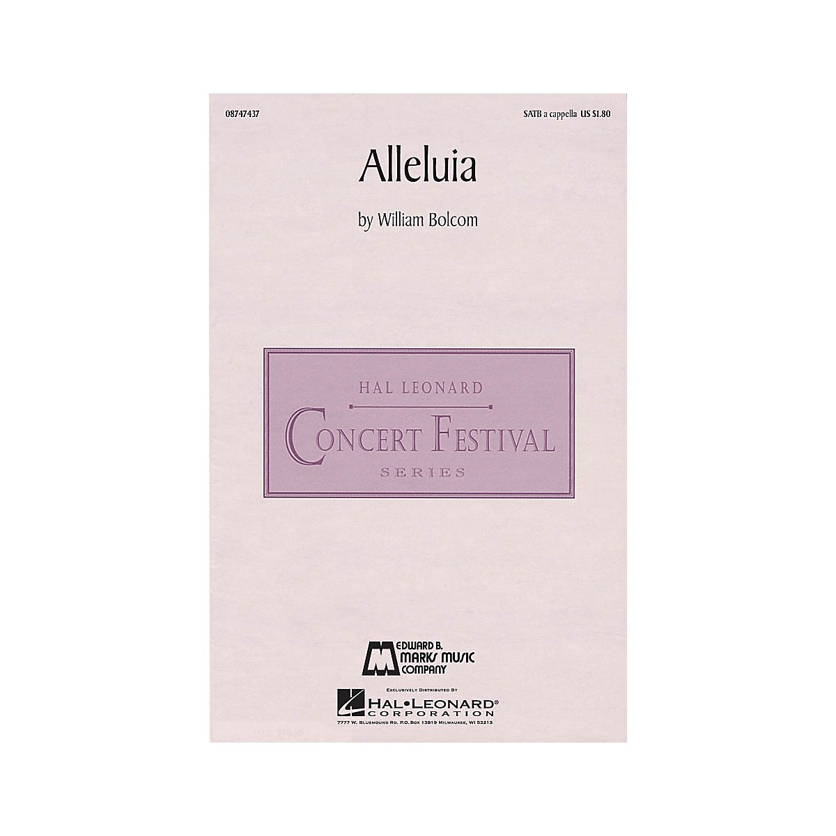 Edward B. Marks Music Company Alleluia SATB a cappella composed by William Bolcom