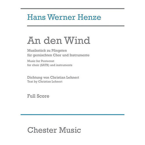 Chester Music An den Wind (Music for Pentecost) Full Score Composed by Hans Werner Henze