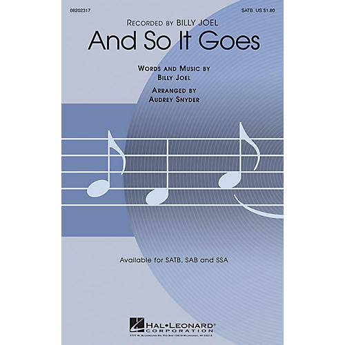 Hal Leonard And So It Goes SAB by Billy Joel Arranged by Audrey Snyder