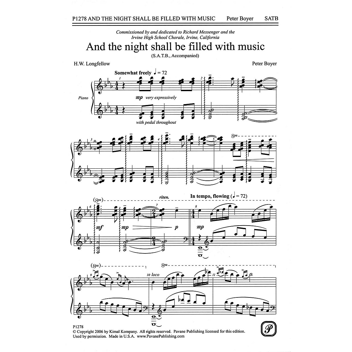 Pavane And The Night Shall Be Filled With Music SATB composed by Peter Boyer