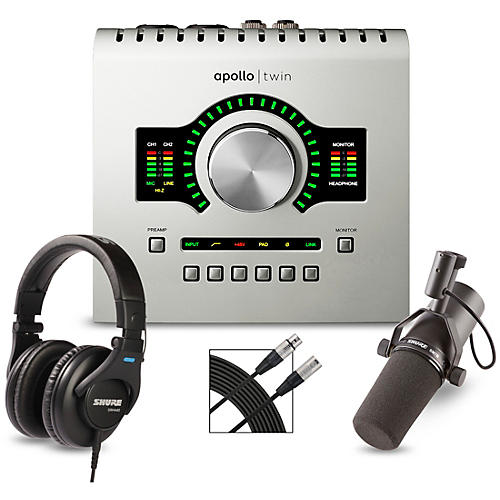 Universal Audio Apollo Twin USB Heritage Edition Interface With Shure SM7B, SRH 440 and Mic Cable
