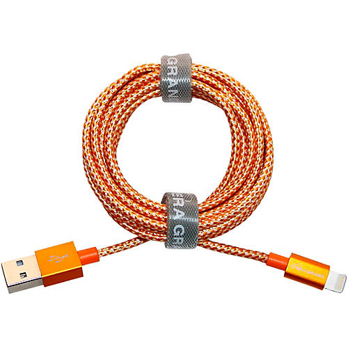 Tera Grand Apple MFi Certified - Lightning to USB Braided Cable with Aluminum Housing, 7 Feet Orange/White
