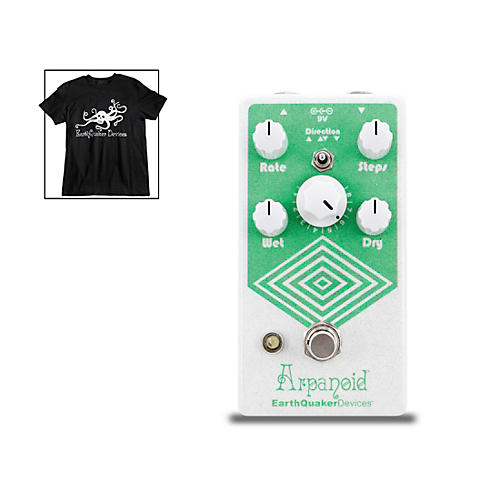 Earthquaker Devices Arpanoid V2 Polyphonic Pitch Arpeggiator Effects Pedal and Octoskull T-Shirt Large Black