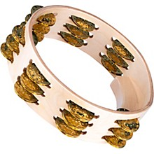 Artisan Compact Maple Wood Tambourine Three Rows Hammered Brass 8 in.