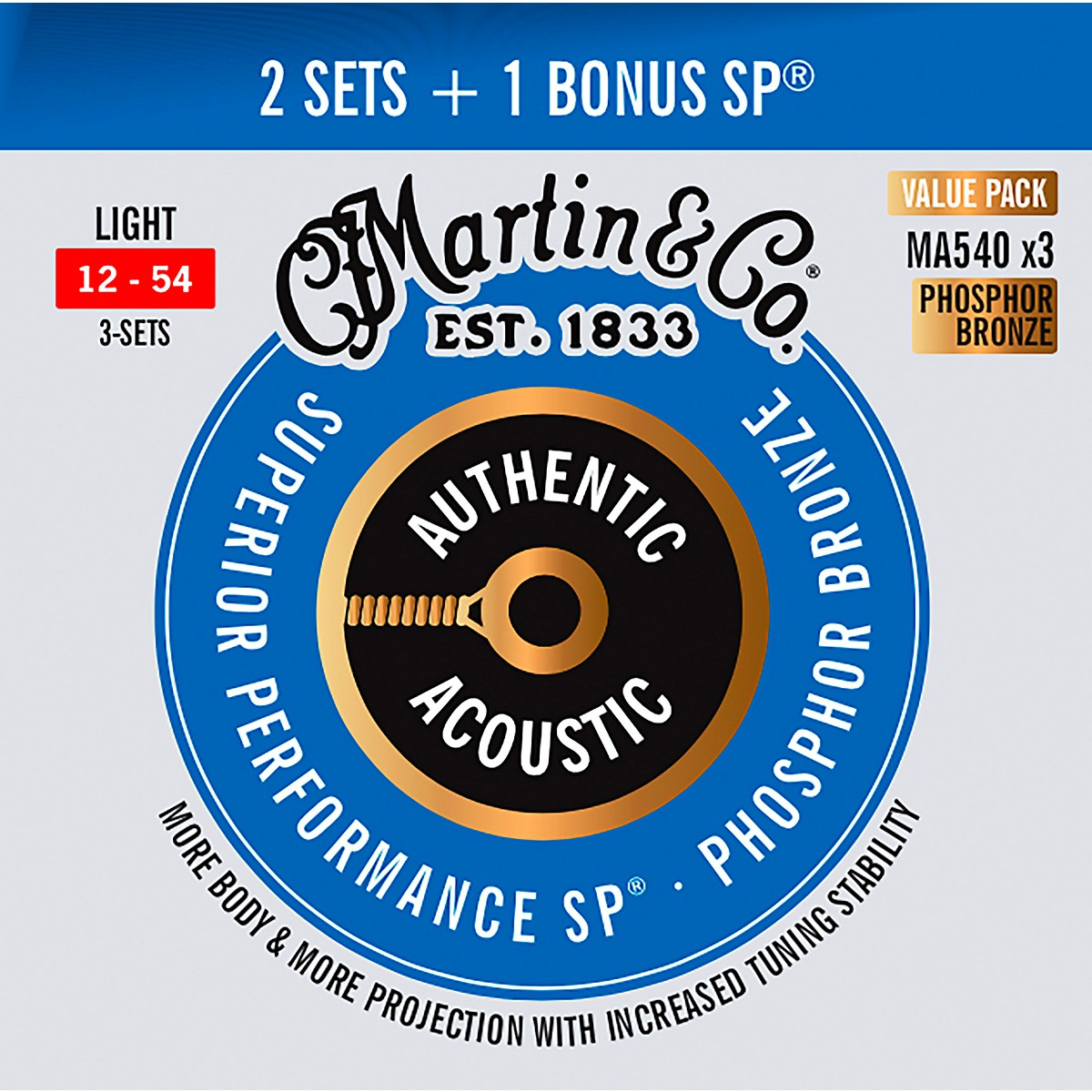 Martin Authentic Acoustic SP Guitar Strings, Light (MA540) Value 3-Pack (12-54)