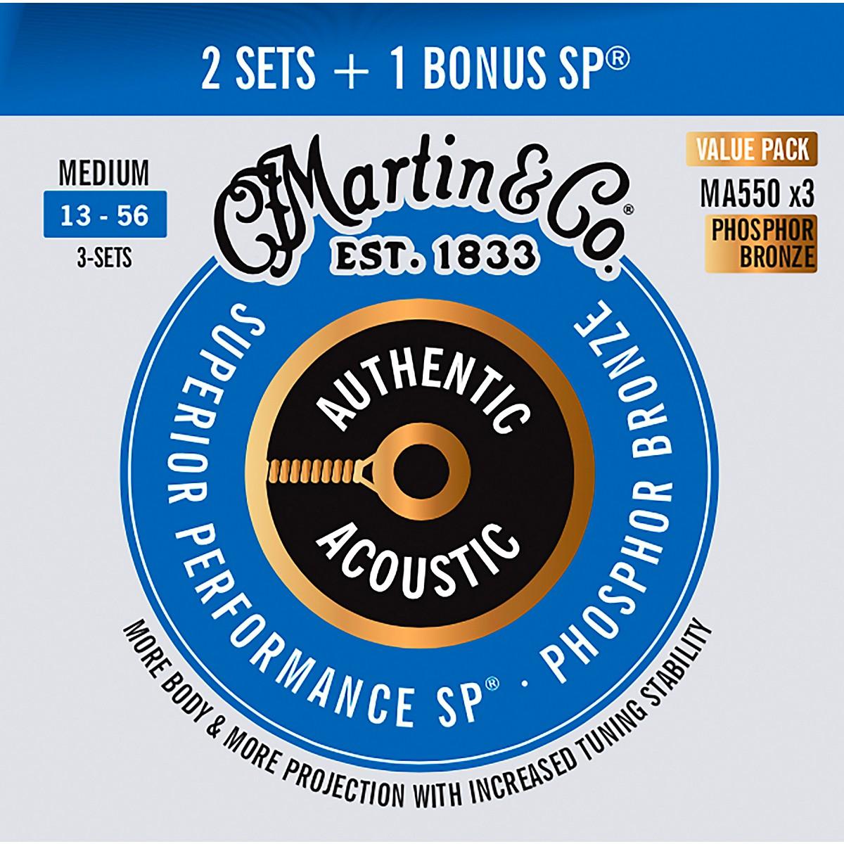 Martin Authentic Acoustic SP Guitar Strings, Medium (MA550) Value 3-Pack (13-56)