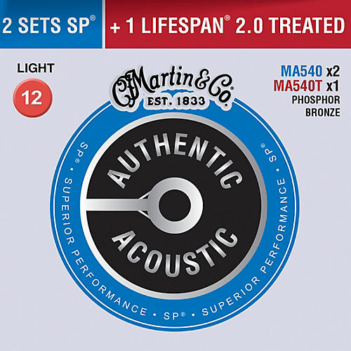 Martin Authentic Acoustic Value Pack Phosphor Bronze Light Guitar Strings
