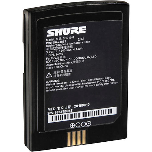Shure Axient Digital SB910M Rechargeable Lithium-Ion Battery for Shure ADX1M Beltpack