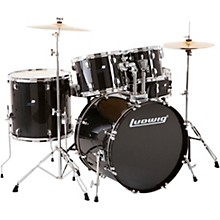 Backbeat Complete 5-Piece Drum Set with Hardware and Cymbals Black Sparkle