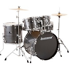 Backbeat Complete 5-Piece Drum Set with Hardware and Cymbals Brushed Silver