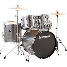 Backbeat Complete 5-Piece Drum Set with Hardware and Cymbals Metallic Silver Sparkle