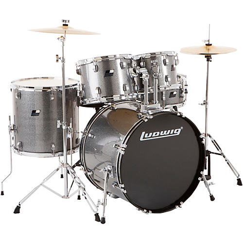 ludwig backbeat complete 5 piece drum set with hardware and cymbals metallic silver sparkle. Black Bedroom Furniture Sets. Home Design Ideas