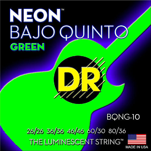 DR Strings Bajo Quinto Neon Green Coated 10 String