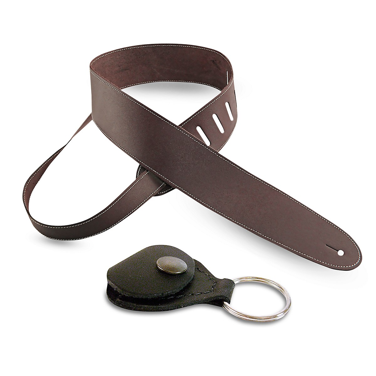 Perri's Basic Leather Guitar Strap with Leather Guitar Pick Key Chain