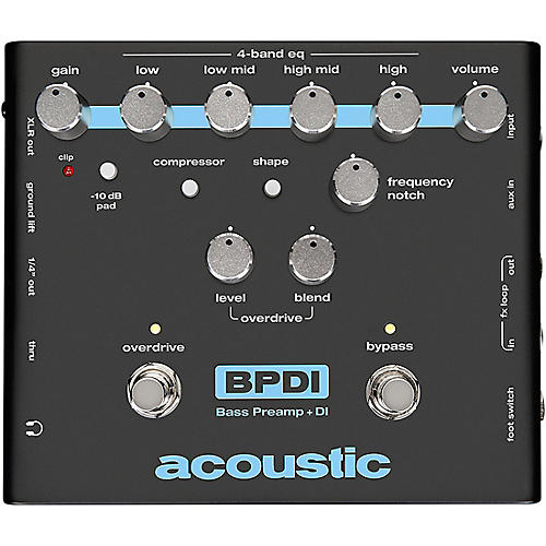Acoustic Bass Preamp and DI Pedal With Overdrive