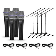 Shure Beta 57A Dynamic Mic with Cable and Stand 4 Pack