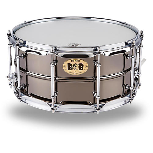 pork pie big black brass snare drum with tube lugs and chrome hardware black 14 x 6 5 in. Black Bedroom Furniture Sets. Home Design Ideas