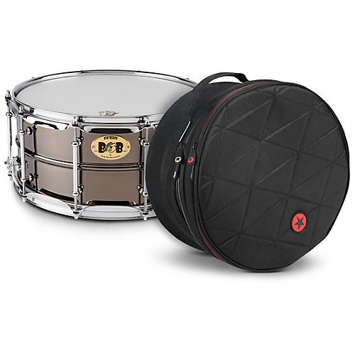 Pork Pie Big Black Brass Snare Drum with Tube Lugs and Chrome Hardware with Road Runner Bag