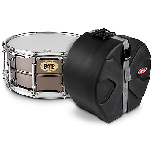 Pork Pie Big Black Brass Snare Drum with Tube Lugs and Chrome Hardware with SKB Case