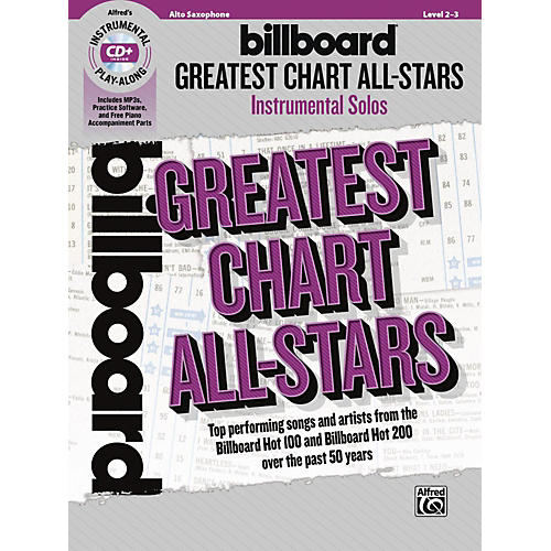 Alfred Billboard Greatest Chart All-Stars Instrumental Solos Alto Saxophone Book & CD Level 2-3