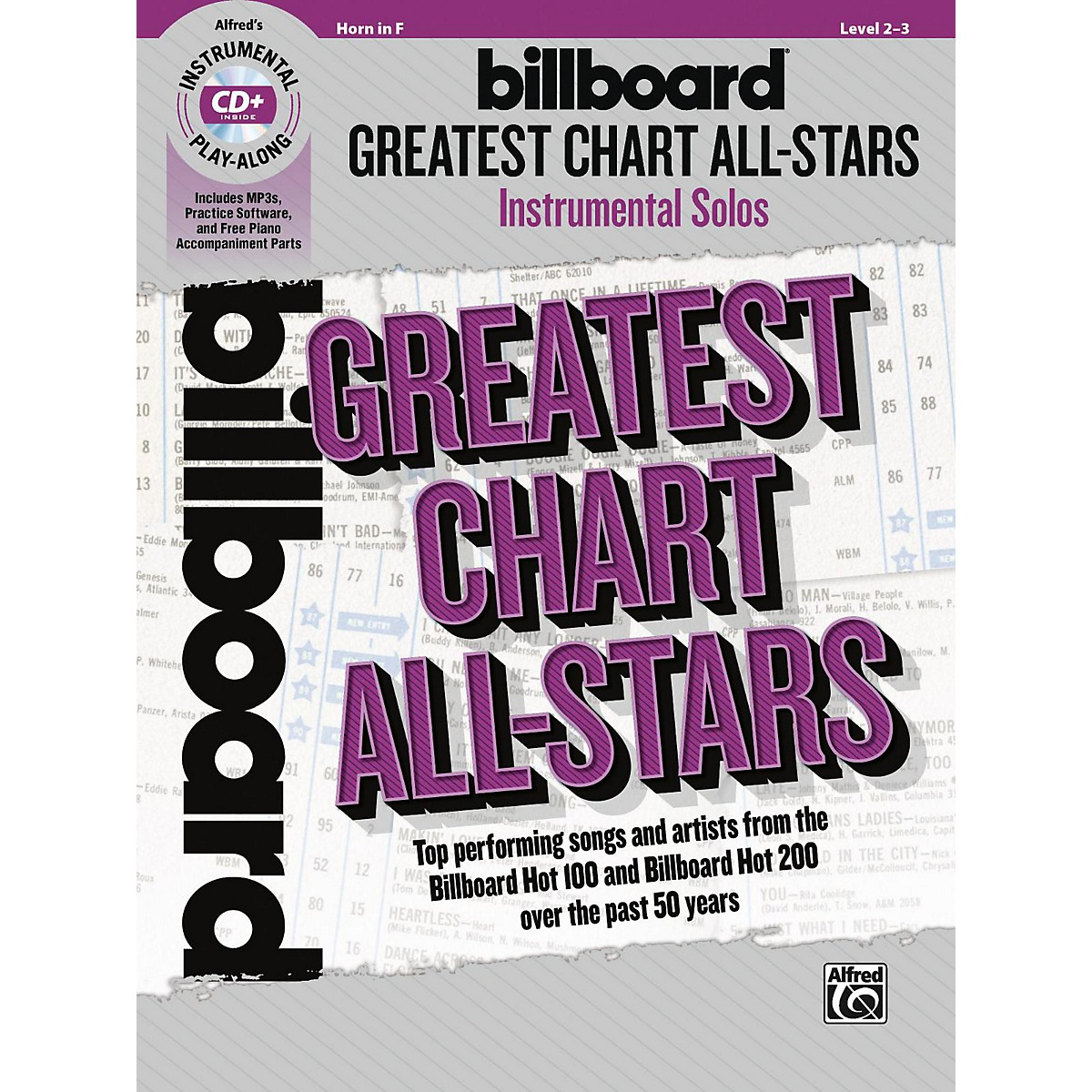 Alfred Billboard Greatest Chart All-Stars Instrumental Solos Horn in F Book & CD Level 2-3
