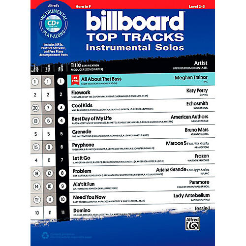 Alfred Billboard Top Tracks Instrumental Solos - Horn in F Book & CD Play-Along