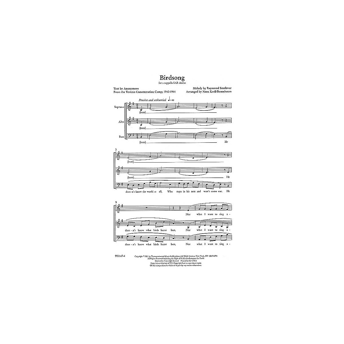 Transcontinental Music Birdsong SAB arranged by Nora Kroll-Rosenbaum