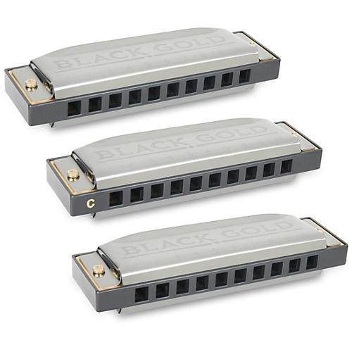 Silver Creek Black Gold Harmonica 3 Pack - Keys A,C and G