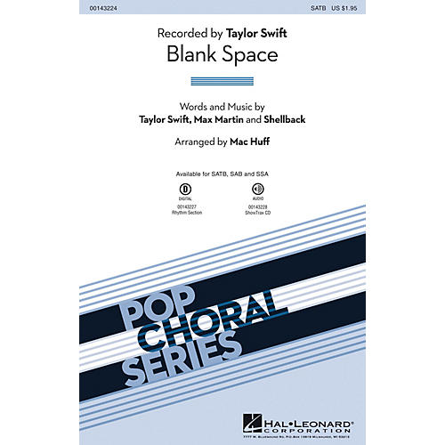 Hal Leonard Blank Space SATB by Taylor Swift arranged by Mac Huff